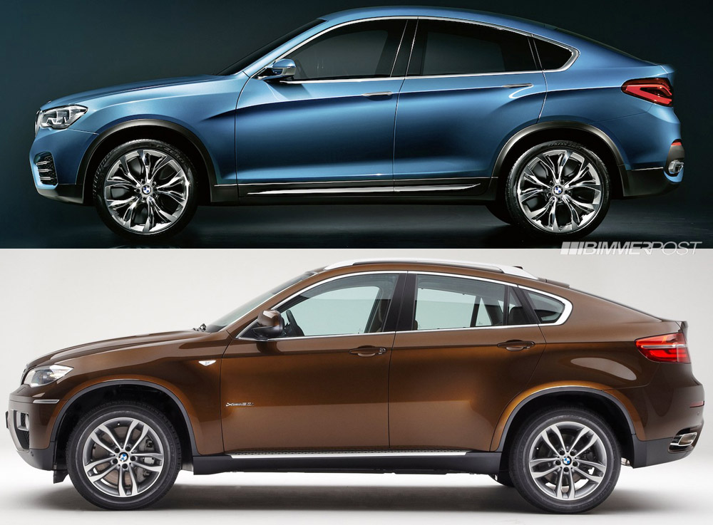 Side by side look at bmw x4 concept and x6 sac for Side by side einbauger t