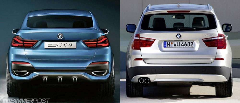 BMW X4 Concept vs X3 a Comparison Look