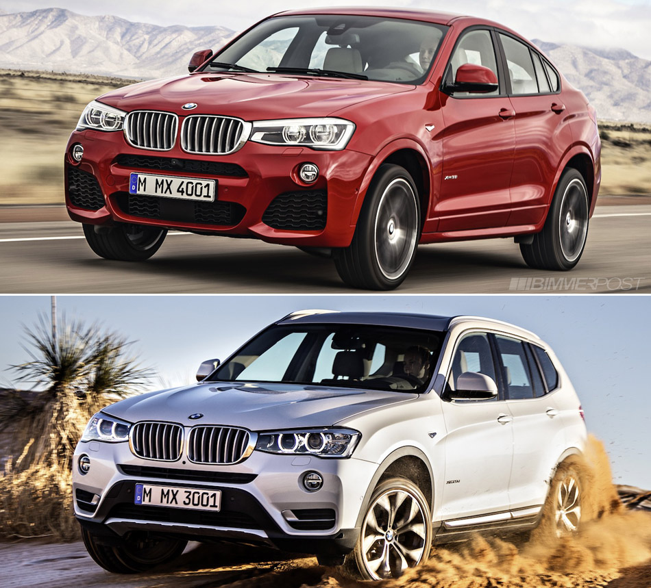 bmw x4 versus x3 visual comparison. Black Bedroom Furniture Sets. Home Design Ideas